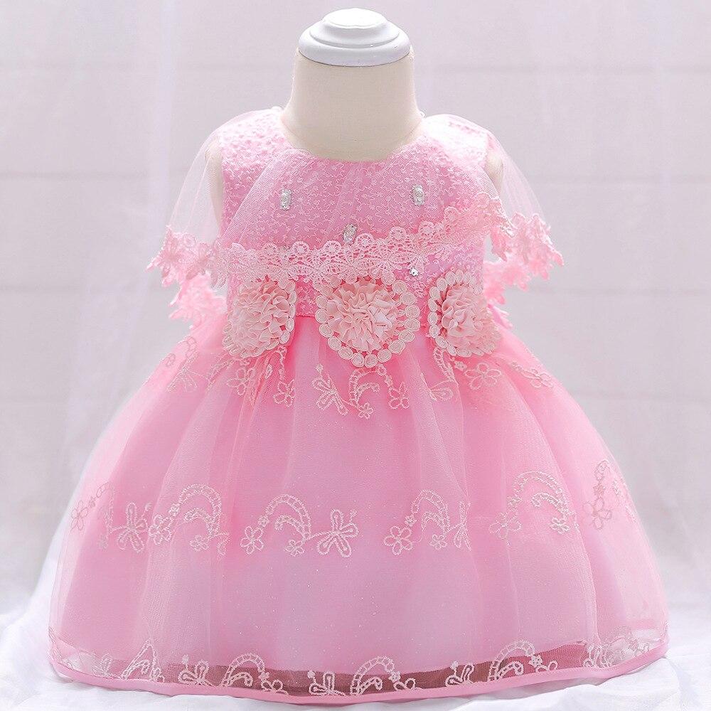 Nova nascidos criança bebê vestido da menina vestido infantil bebe bebê vestido de malha Cor de Rosa vestidos de festa de casamento sem mangas arco meninas batismo 1 ano