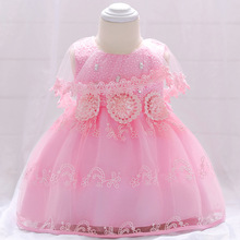 new born kid baby girl dress vestido infantil bebe Pink mesh baby dress wedding party gowns bow sleeveless girls baptism 1 year цены
