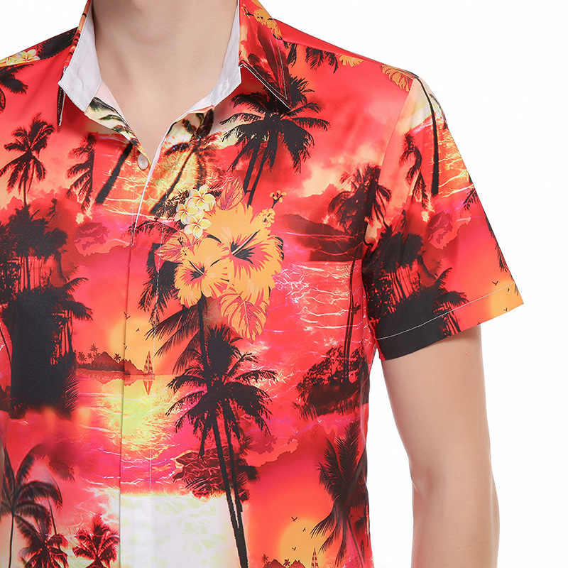 Синие пляжные рубашки с принтом кокосовой пальмы для мужчин, новинка 2017, Мужская гавайская рубашка с коротким рукавом, повседневная приталенная хлопковая рубашка Aloha для мужчин
