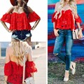 Summer Style 2016 tshirt Womens Casual off Shoulder Crochet Lace tee shirt femme poleras de mujer camiseta roupa Tops T Shirt
