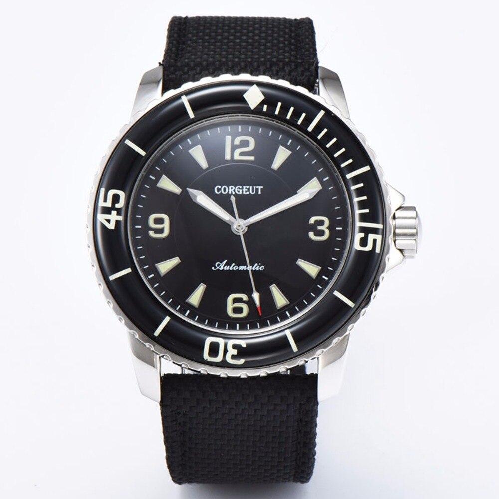 Corgeut sport design uhr luxus top marke schwarz zifferblatt leder mechanische Leucht Automatische Selbst Wind Vintage herren uhr-in Mechanische Uhren aus Uhren bei  Gruppe 2