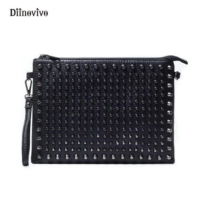 DIINOVIVO Simple Brand Ladies' Clutch Bags Women & Men Rock Style Rivet Shoulder Envelope Bag Luxury Leather Punk Bags WHDV0206