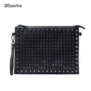DIINOVIVO Simple Brand Ladies' Clutch Bags Women & Men Rock Style Rivet Shoulder Envelope Bag Luxury Leather Punk Bags WHDV0206(China)