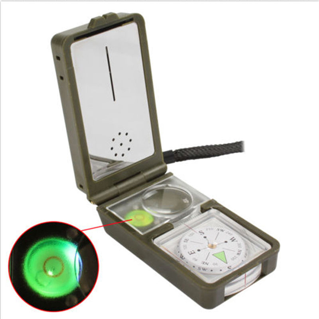 10 in 1 LED Military Camping Survival Compass Multifunction Outdoor black Whistle Compass Thermometer High Quality 2