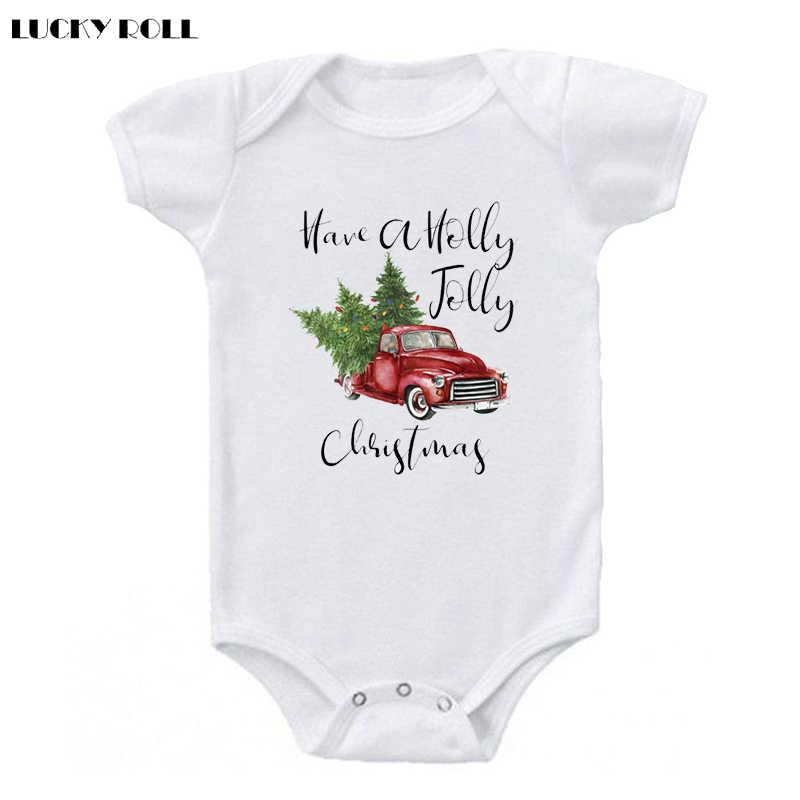 265a21234afb LUCKY ROLL Christmas Newborn Infant Baby Boys Girls Have A Holly Jolly  Christmas Tree Print Short