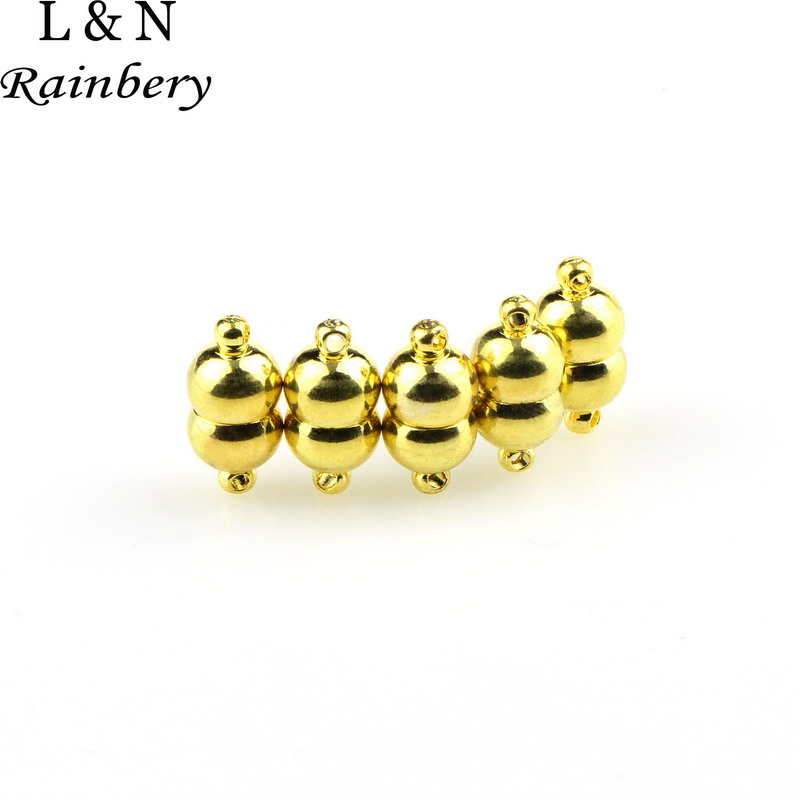 Rainbery 5pcs/Lot Magnetic Clasp Gold Color Jewelry Fastener Small Magnet DIY Necklace Fasten JBC0103