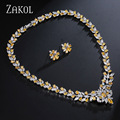 ZAKOL Charms Women Party Jewelry Shiny Silver Plated Jewelry Sets With Marquise And Teardrop Zircon Surrounded  FSSP143