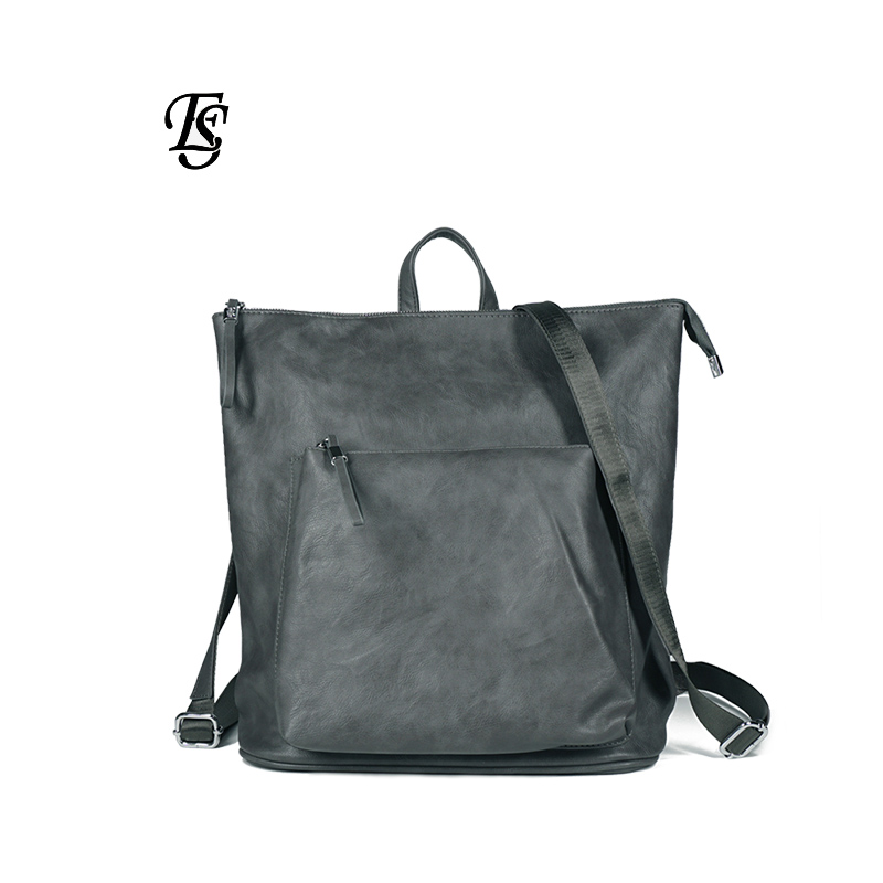 E. SHUNFA marque 2019 nouveauté femme grande capacité PU voyage sac à dos femme sac à dos sauvage sac casual noir gris