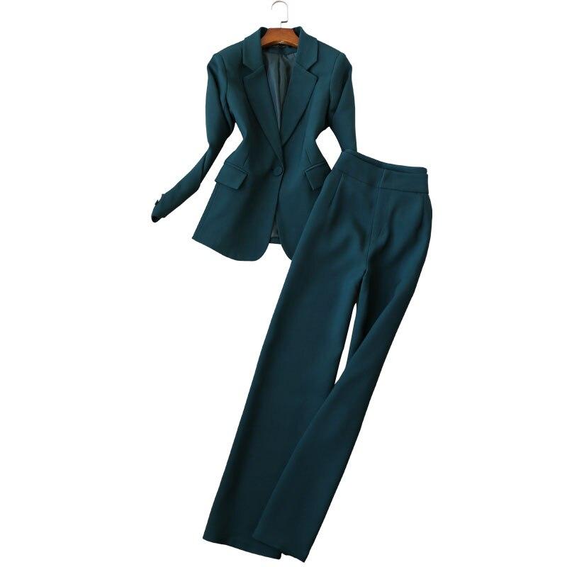 New Arrived Women Suit 2018 Fashion Slim Business Office OL  Set Formal Blazer + Wide Leg Pants Suit