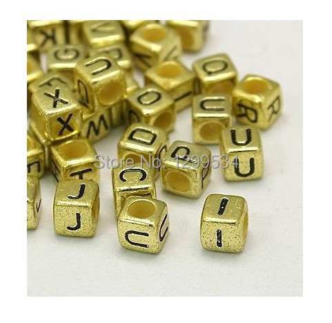 Honesty Wholesale 200pcs/lot 6mm Random Mixed Cube Acrylic Letter Beads Gold Color Jewelry Making Beads Accessories Craft Diy Beads Beads