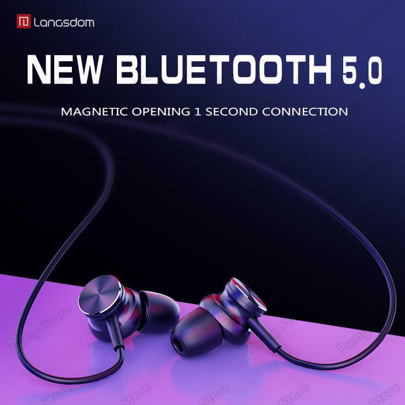 Langsdom słuchawki sportowe z bluetooth L33 przenośny super bass stereo przełącznik magnetyczny zestaw słuchawkowy do gier HIFI słuchawki z mikrofonem