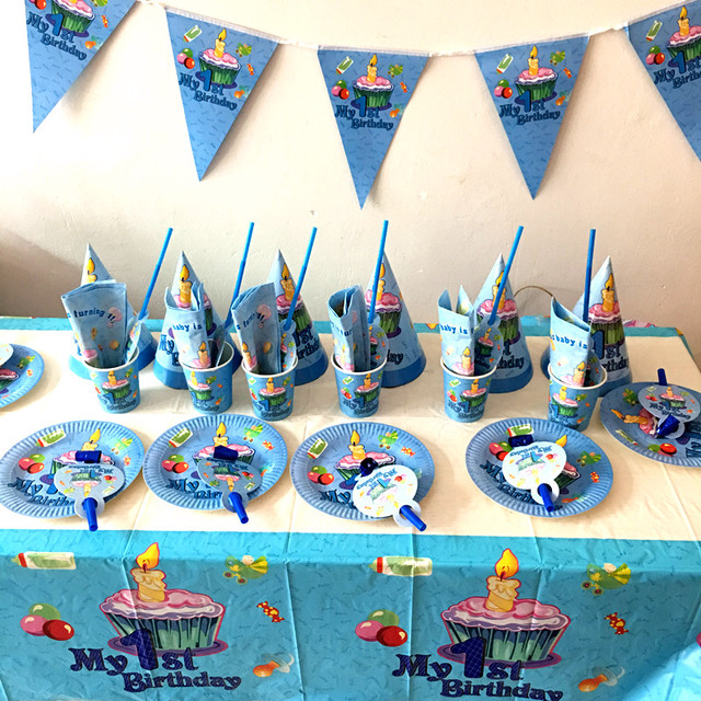 64PCS LOT MY FIRST BIRTHDAY PARTY SET BOY FAVOR 1ST THEME PLATES KIDS