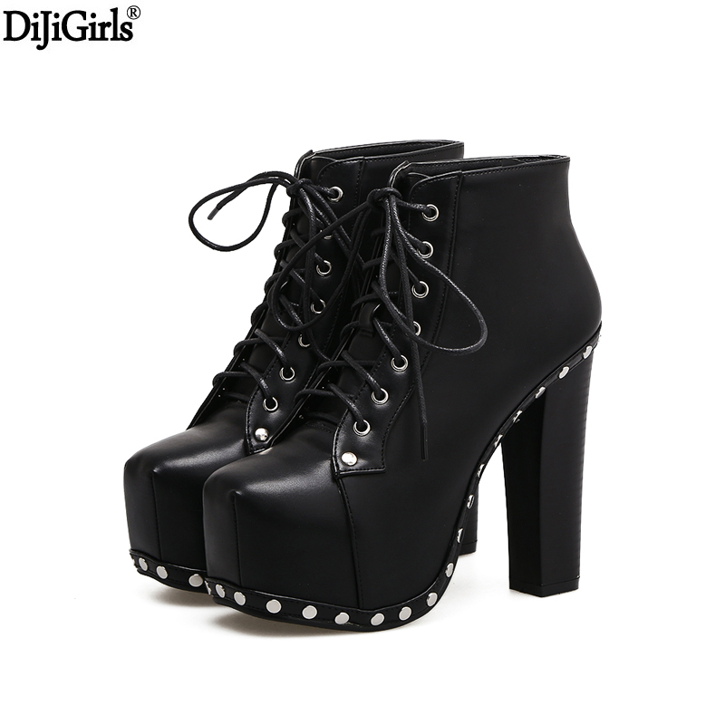 bottine femme talon women motorcycle boots punk platform wedge leather ankle boots black thick. Black Bedroom Furniture Sets. Home Design Ideas