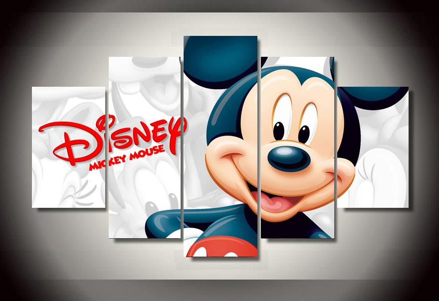 5 Pcs HD Printed Cartoon Mickey Mouse Canvas Painting Unframed Wall Art Modular Picture Home Decor Pictures For Living Room In Calligraphy