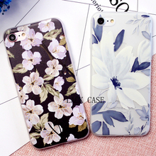 Best quality Ultra thin Cartoon Floral Plants Pattern Phone Case For iphone 7 Case For iphne 7 Plus Leaves Flower Back Cover