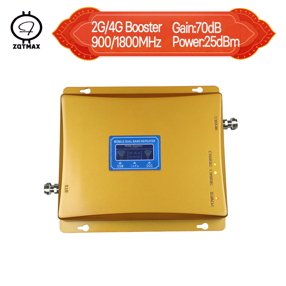 ZQTMAX GSM repeater 900 , 4G LTE 1800 Repeater 2g 4g cell phone signal booster dual band repeater 70dBZQTMAX GSM repeater 900 , 4G LTE 1800 Repeater 2g 4g cell phone signal booster dual band repeater 70dB