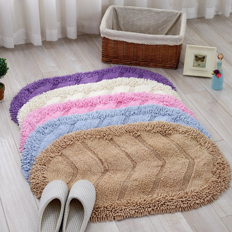 solid cotton chenille absorbent floor mats oval area rug color quilting small carpet for kitchen bathroom