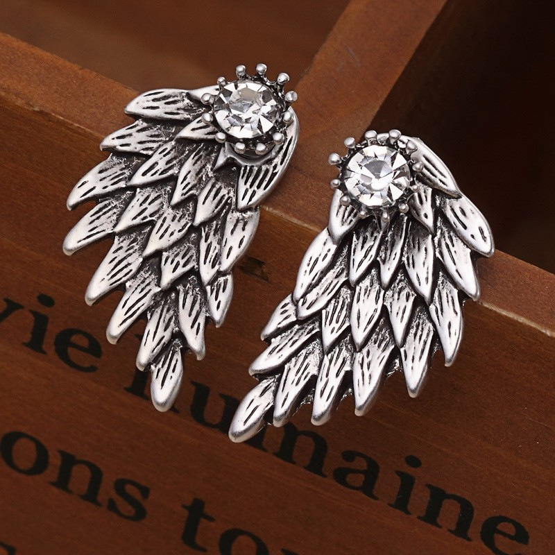 Black Gold Silver Plated Gothic Angel Wings Rhinestone Alloy Stud Earrings 2