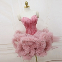 Robe de cocktail2019 new sexy sweetheart knee length fluffy pink black, white crystal feather cocktail dresses short