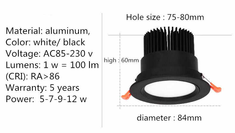 Светодиодный потолочный COB даунлайт с регулируемой яркостью AC110-240V 5 Вт 7 Вт 9 Вт 12 Вт Встраиваемый светодиодный точечный потолочный светильник лампочки для внутреннего освещения