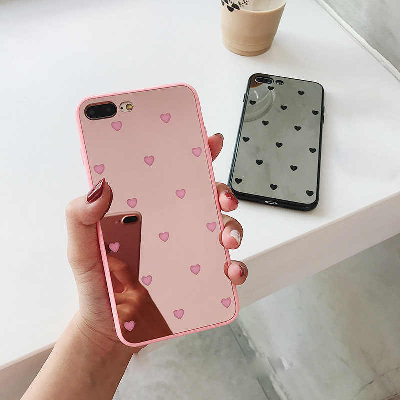 New Luxury Heart Letter Mirror Case for iPhone X XS Max XR Soft Cover Coque  for 796fc8175ac1