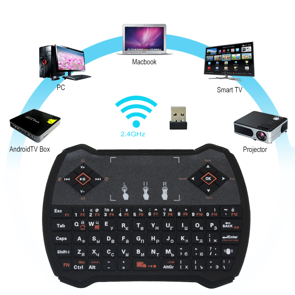 Zoweetek i28-1 K28-1 Wireless Russian Keyboard Backlit Touchpad mouse Combo Gaming Keyboard for Android TV Box PC