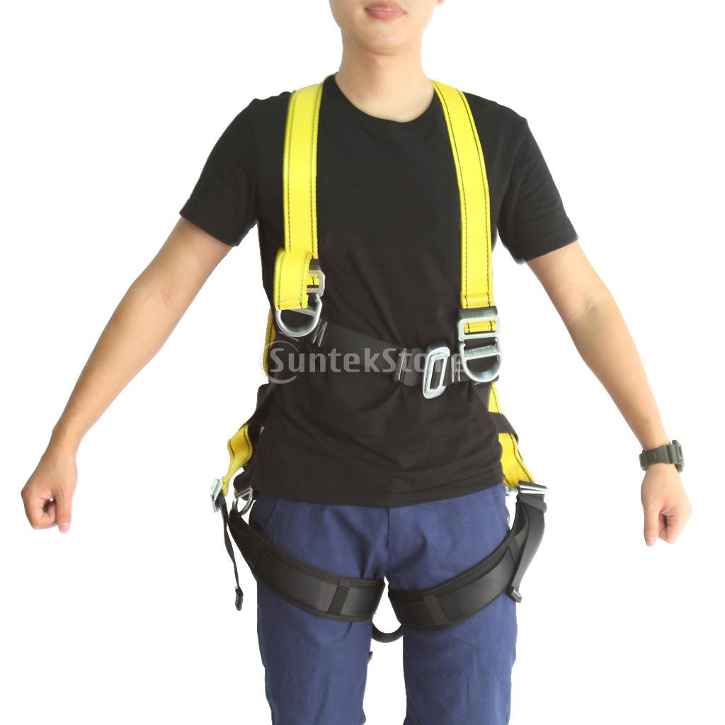 Full Body Harness Rock Climbing High Work Rappelling Abseiling Safety Seat Belt Bust Fall Arrest Protection Equipment Black 2 packs heng shuo rock climbing safety harness belt tree carving arborist rappelling fall arrest