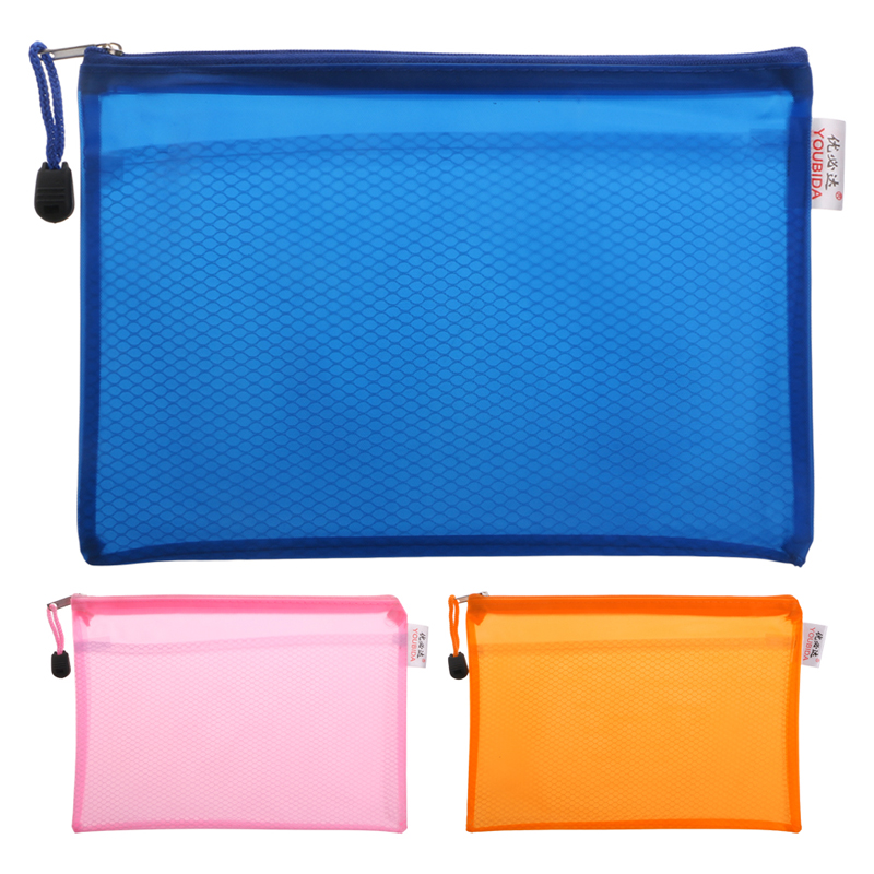 A5 Matte Gridding Waterproof Zip Bag Document Pen Filing Products Pocket Folder  Office & School Supplies