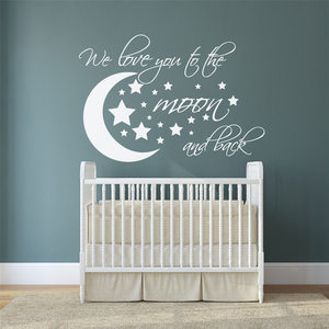 Wall Decal Moon and Stars I We Love you to the moon and back nursery Kids Room Wall Decor Cartoon Wall Sticker D604(China)