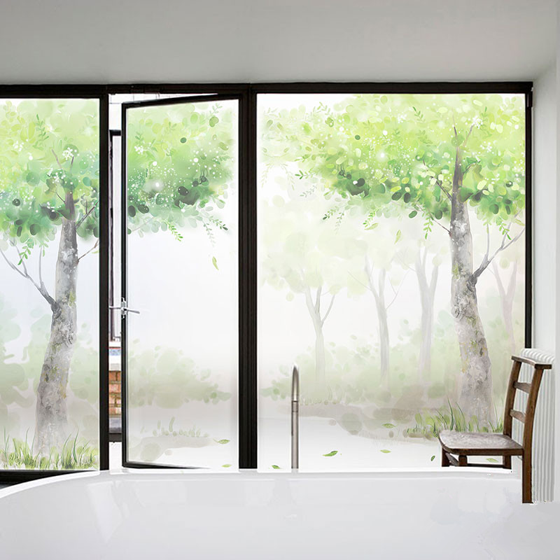 Decorative self adhesive static cling frosted stained window film custom sticker living room balcony glass decals frosted trees in decorative films from