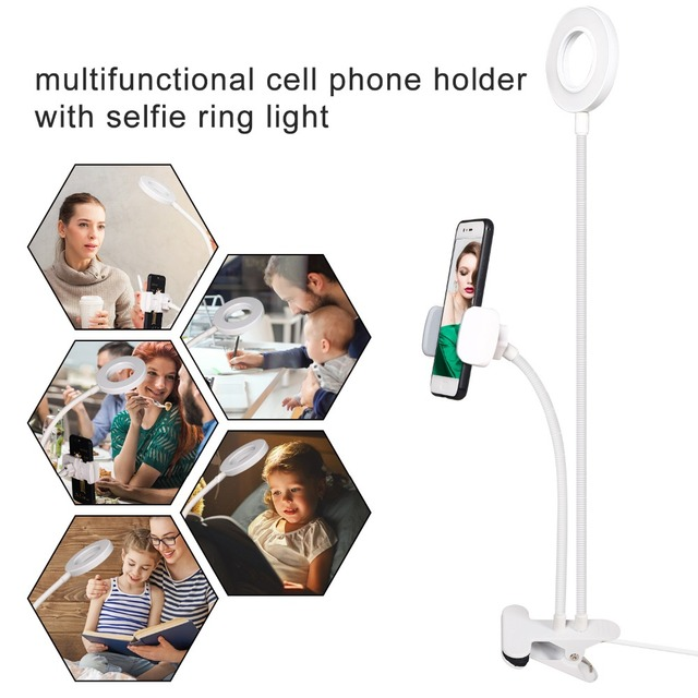 Round Light with Phone Holder