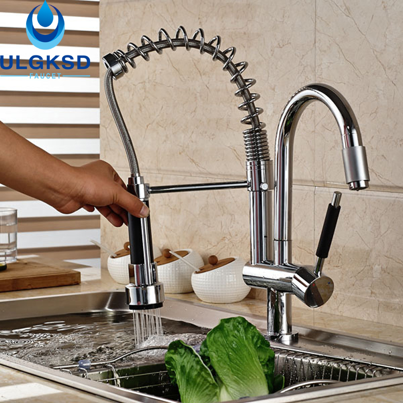 ULGKSD Kitchen Sink  Faucet Pull Out Spout 360 Rotation Dual Swivel Spout Spring Kitchen Water Mixer Hot and Cold  Taps good quality wholesale and retail chrome finished pull out spring kitchen faucet swivel spout vessel sink mixer tap lk 9907