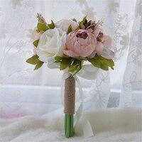 2019 Vintage Wedding Bouquets Bohemian Garden Flowers Artificial Silk Roses Outdoor Bridal flower bouquet Ramo Flores Novia