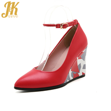 J&K 2017 Big Size 33-43 Brand Ladies Pumps Shoes Casual Wedges Heel Prints Ankle Strap Pumps Fashion Pointed toe Shallow Shoes