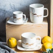 MUZITY керамическая чайная чашка набор креативный Золотой дизайнерский фарфор чайная чашка и блюдце черная кружка с кофе набор посуда для напитков