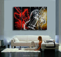 Hot New Red Modern Music Guitar Note Letter Oil Painting On Canvas Abstract 4 Panel Sets Home Wall Arts Decor For Living Room