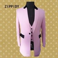 Большой размер корейский вариант розовый средний Мужской костюм пиджак, жилет, брюки бар Свадьба певица костюм набор ночной клуб вечерние О