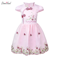 2017 Summer Brand Domeiland Children Clothing Embroidery Lace Kids Girls Short Sleeve Ruffles Party Princes Dress