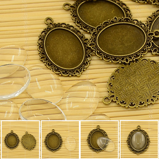 Buy 10set 25mm oval vintage cabochons for Jewelry making supply store