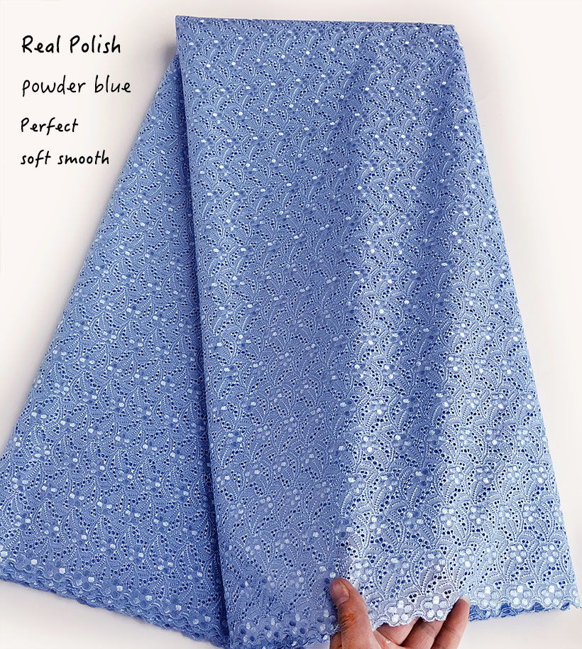 powder blue Intricate eyelet embroidery African Swiss voile lace Real polish cotton fabric excellent high quality