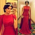 Nuevo de Alta Calidad Sexy Árabe Musulmán Larga Roja Cabo Del vestido de Satén de La Sirena Vestidos Formales de Noche Vestidos de baile Vestidos de Noche WJT