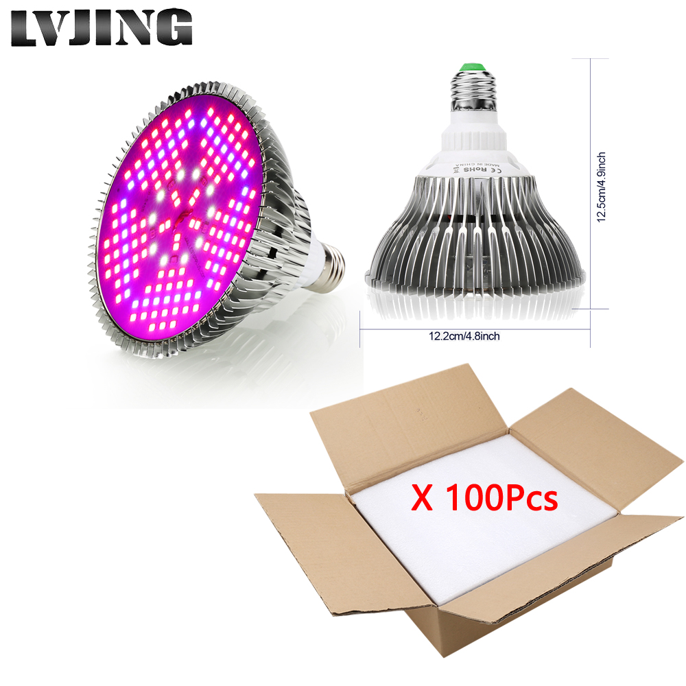 Wholesale! 100Pc 150LEDs 100W Full Spectrum LED Grow Light For Indoor Plants Vegetable Greenhouse Hydroponic E27 Base Grow Light