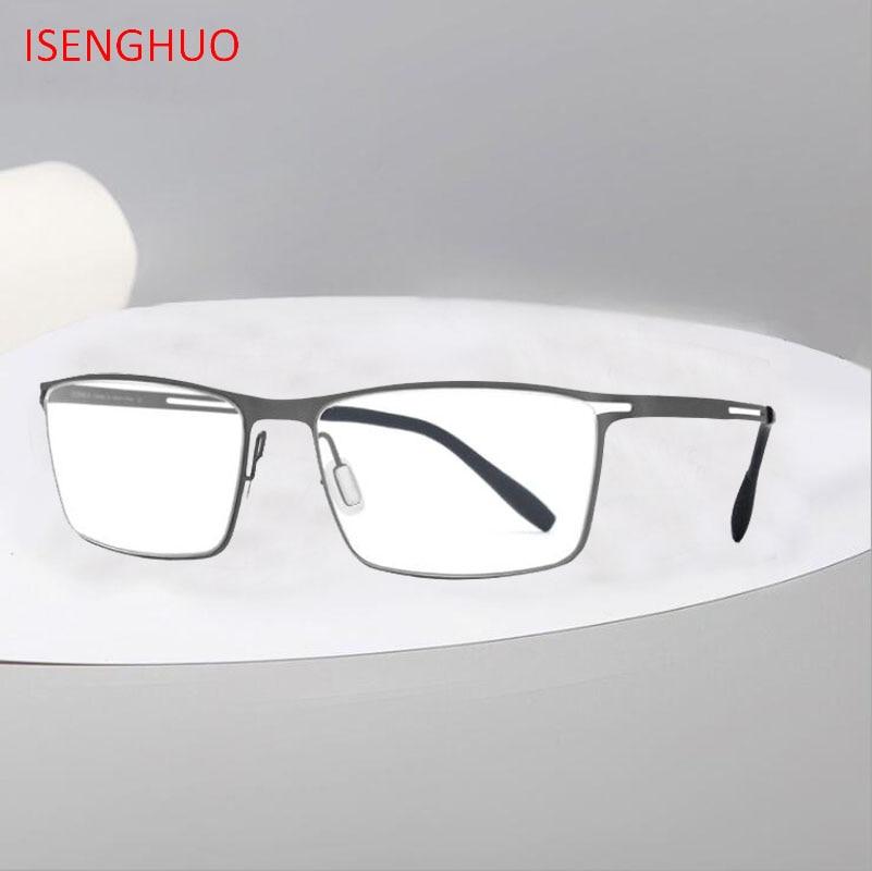 B titane lunettes cadre hommes Semi sans monture Prescription 2019 ultraléger myopie optique lunettes cadre homme sans vis lunettes