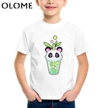Kawaii taza de té imprimir bebé niños camiseta más reciente 2019 niños verano lindo camiseta divertida burbujas coloridas o-cuello Casual niños Tops