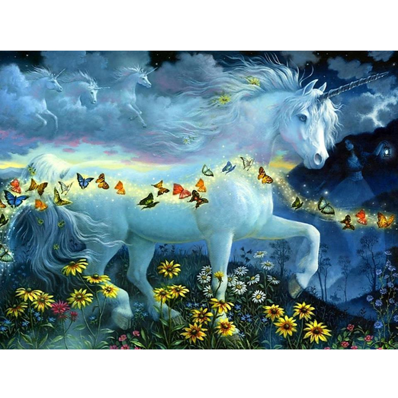 5D Diy Diamond Painting Cross stitch Horse Butterflies Full Square/Round Diamond Embroidery Needlework Rhinestone Mosaic Crafts