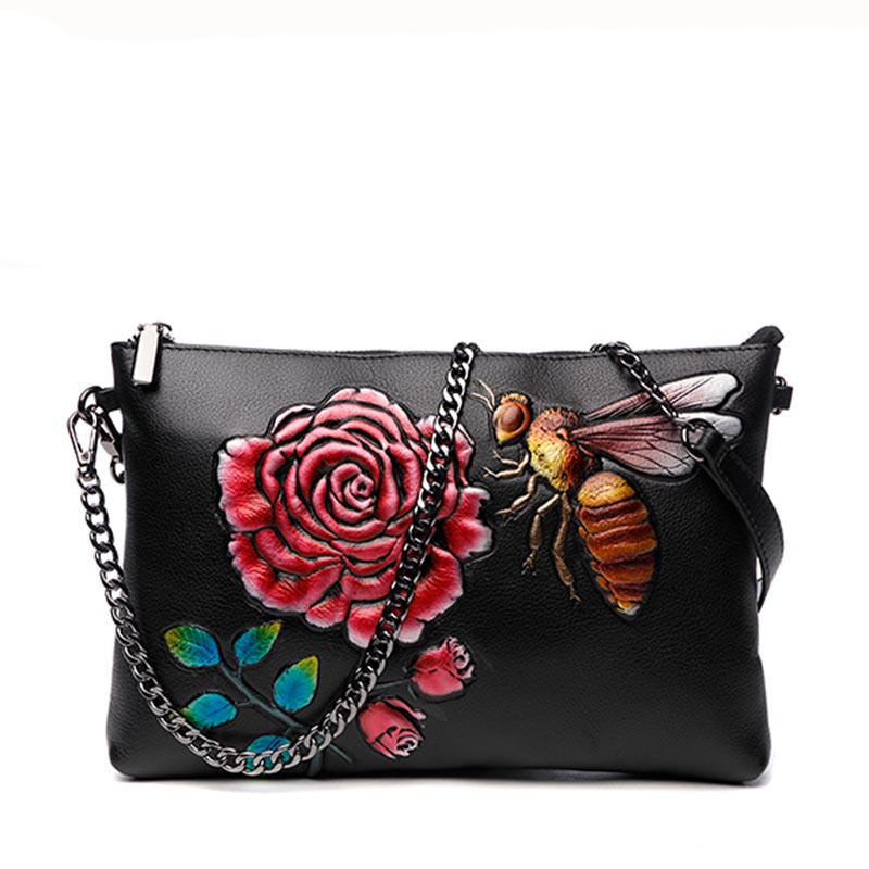 Vintage Banquet Clutches Rose Bee Handbag Clutch Wallet Card Purse Woman Shoulder Crossbody Bag Genuine Leather Wristlet Zipper vintage serpentine genuine leather woman clutches evening bag crossbody chain shoulder bag handbag clutch wallet lady long purse
