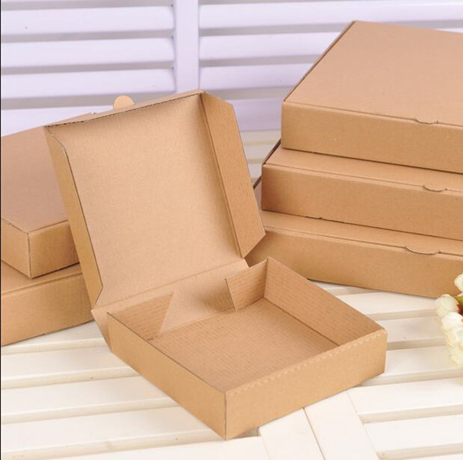 Free Shipping 100pcs/lot Kraft Pizza Box Blank No Printing Party Food Packaging Box (6