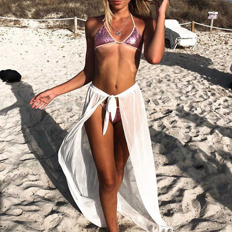 e66a1043e1 ... Sexy Beach Cover Ups Wrap Maxi Skirt Bikinis 2019 Swimsuit Female  Swimwear Women Solid Pareo Summer ...