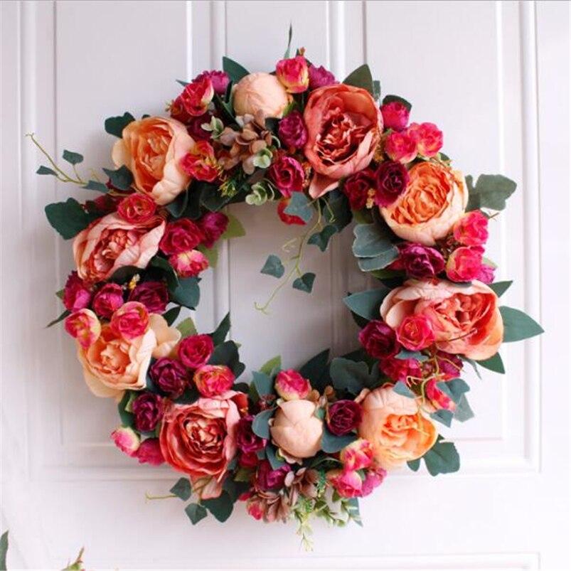 Flower Wreaths For Weddings: Fake Fall Wreath Peony Flowers Garland Fall Decor