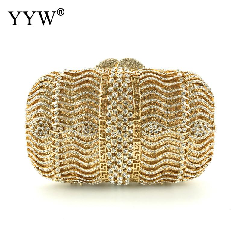 YYW Gold Evening Bags Diamond Rhinestone Pearls Beaded Wedding Clutch Women'S Purse Handbags Wallets Evening Clutch Bag Bolsa xiyuan pink evening bags flat diamond rhinestone pearls beaded day clutches women purse handbags wallets wedding evening bag